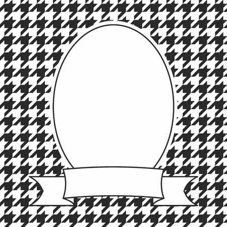 Marco de vector de foto decorativa dibujada a mano sobre fondo de pata de gallo blanco y negro