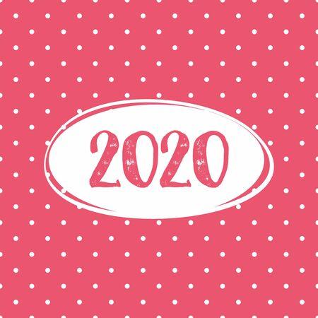 2020 vector card on pastel pink polka dots background Stock Illustratie