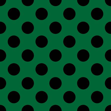 Tile vector pattern with big black polka dots on green background
