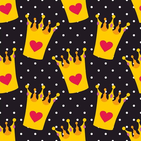 Crown seamless vector background or tile pattern