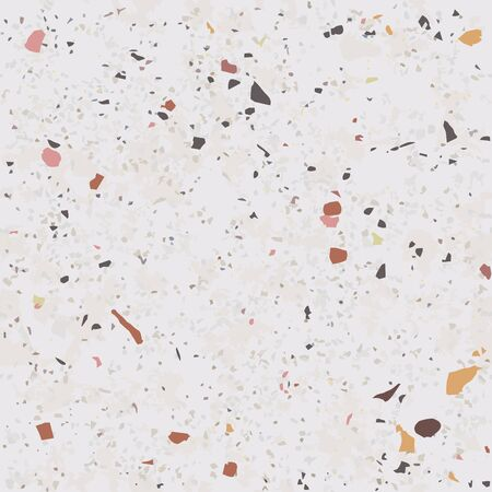 Tile terrazzo vector pattern with colorful stone on grey marble background for seamless concrete rock wallpaper