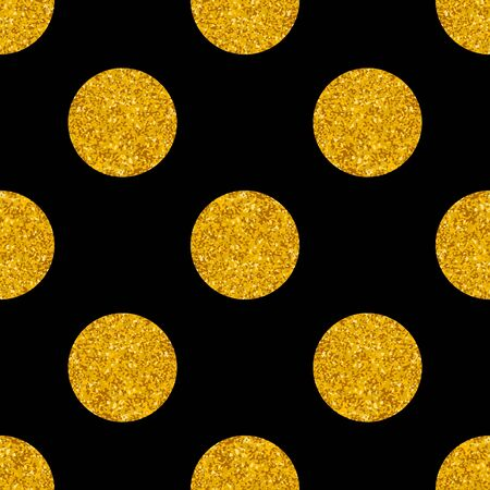 Tile pattern with big golden polka dots on black vector background for seamless decoration wallpaper