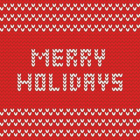 Merry Christmas red knitting vector card Vector Illustration