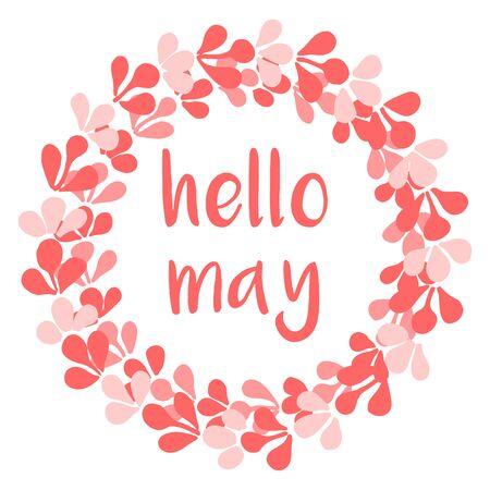 Ciao maggio carta vettoriale corona rosa acquerello isolato su sfondo bianco on