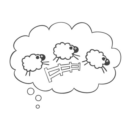Speech bubble with cute sheep jumping over fence isolated on white background