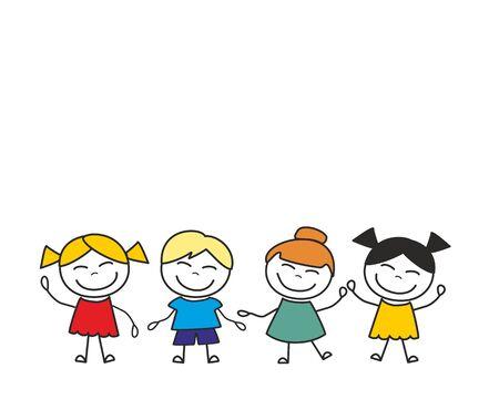 Glückliche Kindergruppe, die Spaß hat und spielt. Vektor-Illustration isoliert auf weißem Hintergrund