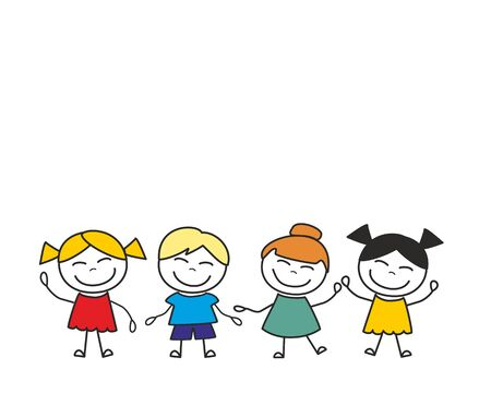 Happy kids group playing and having fun. Vector illustration isolated on white background