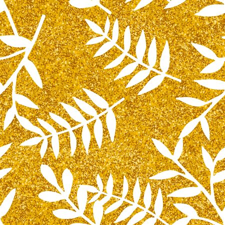Tile tropical vector pattern with white leaves on golden background
