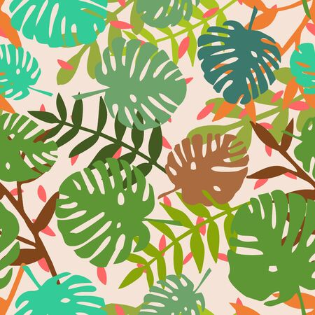 Tile tropical vector pattern with exotic leaves on pink background