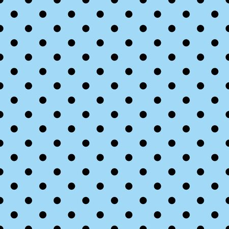Tile vector pattern with black polka dots on a pastel blue background