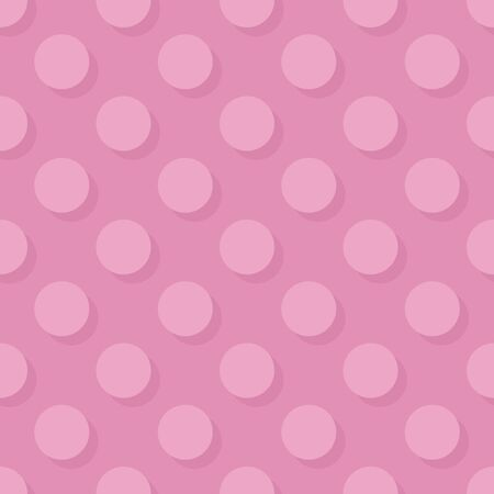 Tile vector pattern big pink polka dots with shadow on pastel background for decoration wallpaper Vecteurs