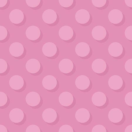 Tile vector pattern big pink polka dots with shadow on pastel background for decoration wallpaper Vektorgrafik