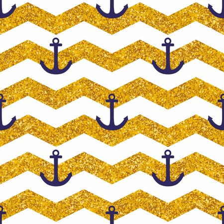 Tile sailor vector pattern with white stripes, gold background and blue anchor for seamless decoration wallpaper