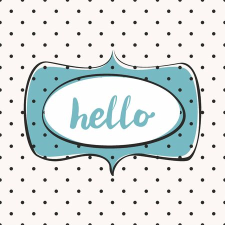 Hello vector sign in frame on mint green background with polka dots Иллюстрация