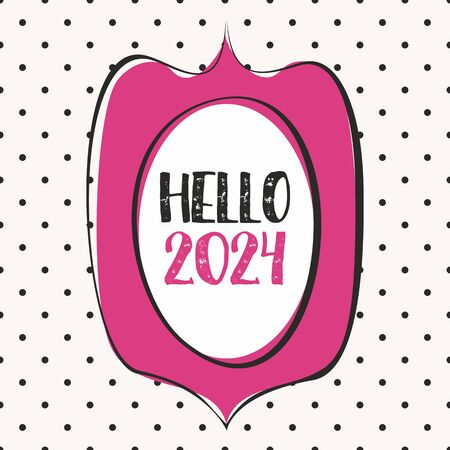 2024 in hand drawn pink frame design vector card on pastel polka dots background