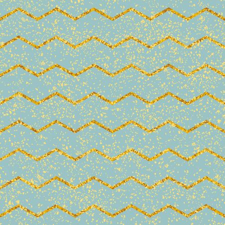 Tile vector pattern with pastel mint green and gold stripes and golden dust background