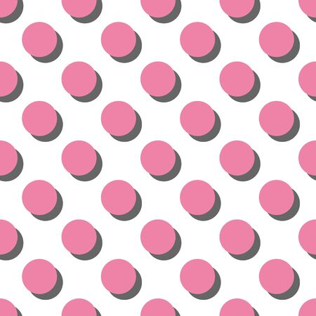 Tile vector pattern big pink polka dots with shadow on white background for decoration wallpaper Illusztráció