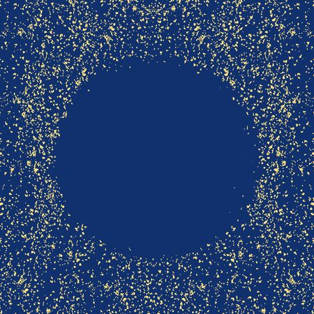 Golden splash or glittering spangles round vector frame with empty center for text. Gold glittering circle made of tiny dots on black background Vectores