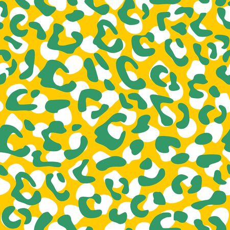 Seamless leopard vector pattern design, animal green and white tile print on yellow background