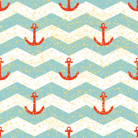 Tile sailor vector pattern with gold stripes, mint green background and red anchor for seamless decoration wallpaper