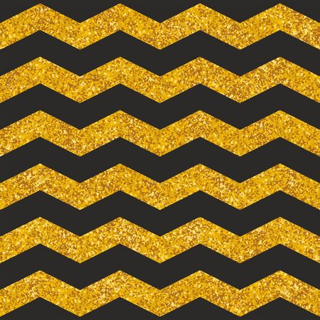 Tile vector pattern with black stripes and gold background for seamless decoration wallpaper