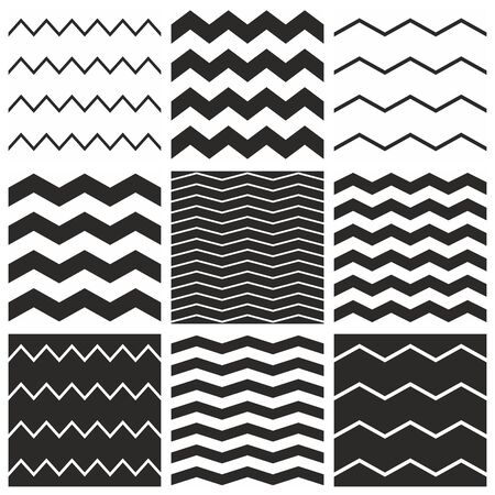 Tile vector pattern set with black and white zig zag background Çizim