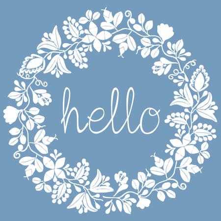 Hello pastel laurel vector wreath white frame on pastel blue background Ilustração