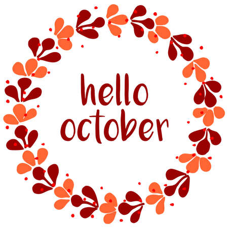 Hello october wreath vector card isolated on white background