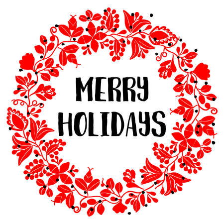 Merry Holidays red vector card with christmas wreath