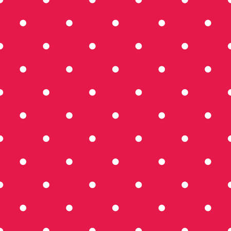 Retro seamless vector pattern with small white polka dots on red background Ilustracja