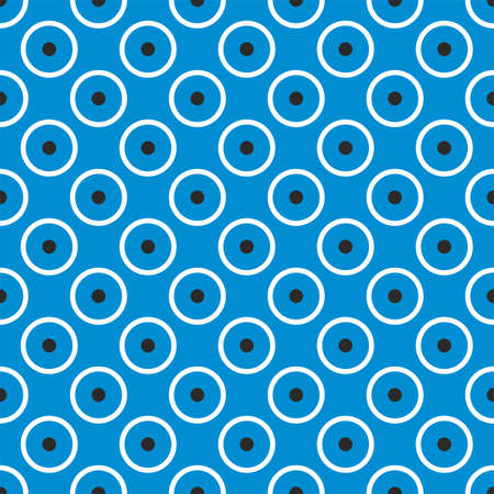Seamless vector pattern with cute tile black and white dots on navy blue background