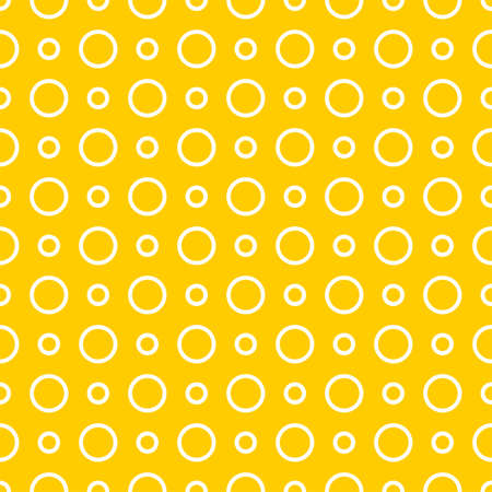 Seamless vector pattern with white polka dots on a sunny yellow background