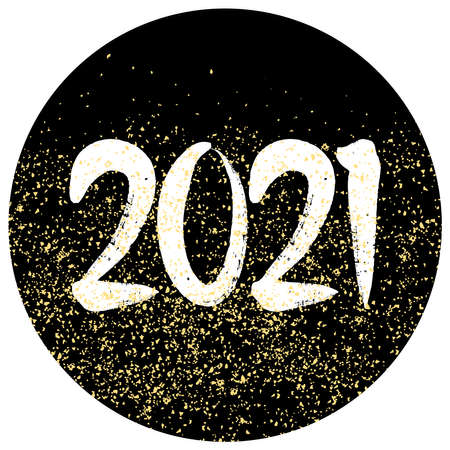 2021 sign with golden vector dust on black background Ilustracja