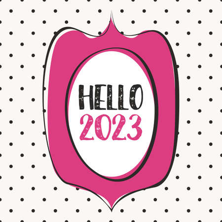 2023 in hand drawn pink vector frame design card on pastel polka dots background Ilustracja
