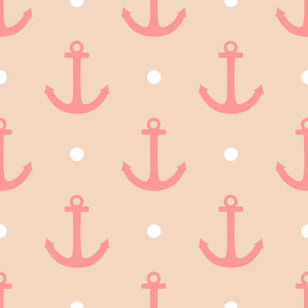 Sailor vector pattern set with white polka dots and pink anchor on pastel background