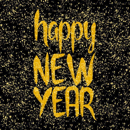 Happy New Year hand drawn golden vector wishes on black background Ilustracja