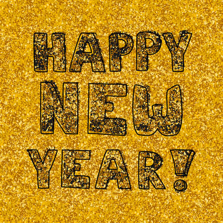 Happy New Year hand drawn vector wishes on golden background