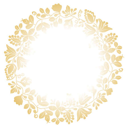 Golden vector wreath isolated on white background
