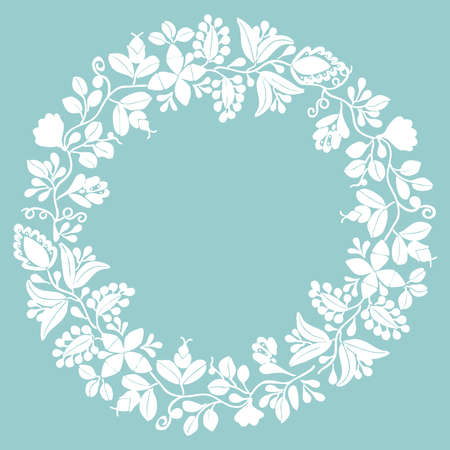 White laurel vector wreath frame on pastel mint green background