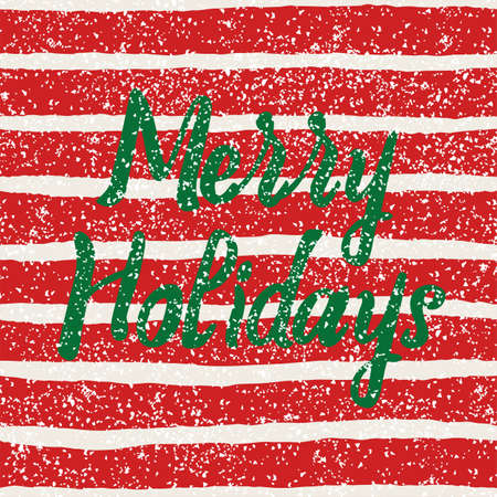Merry Holidays vector card with red and white stripes, golden dust decoration background