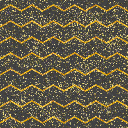 Tile vector pattern with dark grey and gold stripes and golden dust for seamless decoration wallpaper background
