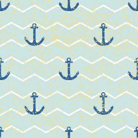 Tile sailor vector pattern with gold stripes, mint green background and blue anchor for seamless decoration wallpaper Ilustracja
