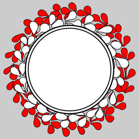 White and red empty laurel wreath vector frame on a grey background