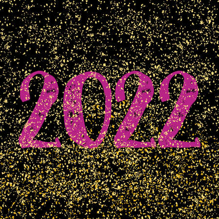 2022 vector sign on golden dust and black background