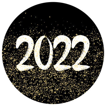 2022 vector sign with golden dust on black background