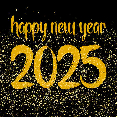 Happy New Year 2025 hand drawn golden vector wishes on black background Ilustracja