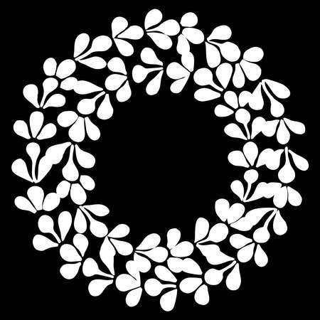 Hand drawn vector decorative frame in form of wreath isolated on black background