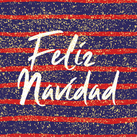Christmas card or invitation for party with Merry Christmas wishes in espanol: Feliz Navidad on golden background