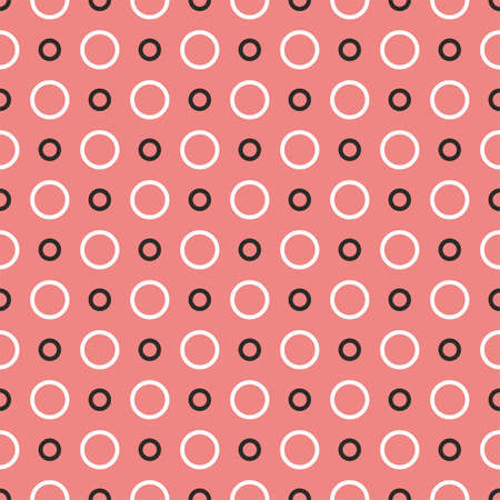 Tile vector pattern with black and white dots on pastel pink background