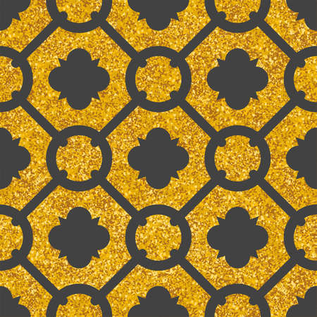 Tile decorative floor gold and dark grey vector tiles pattern or seamless background